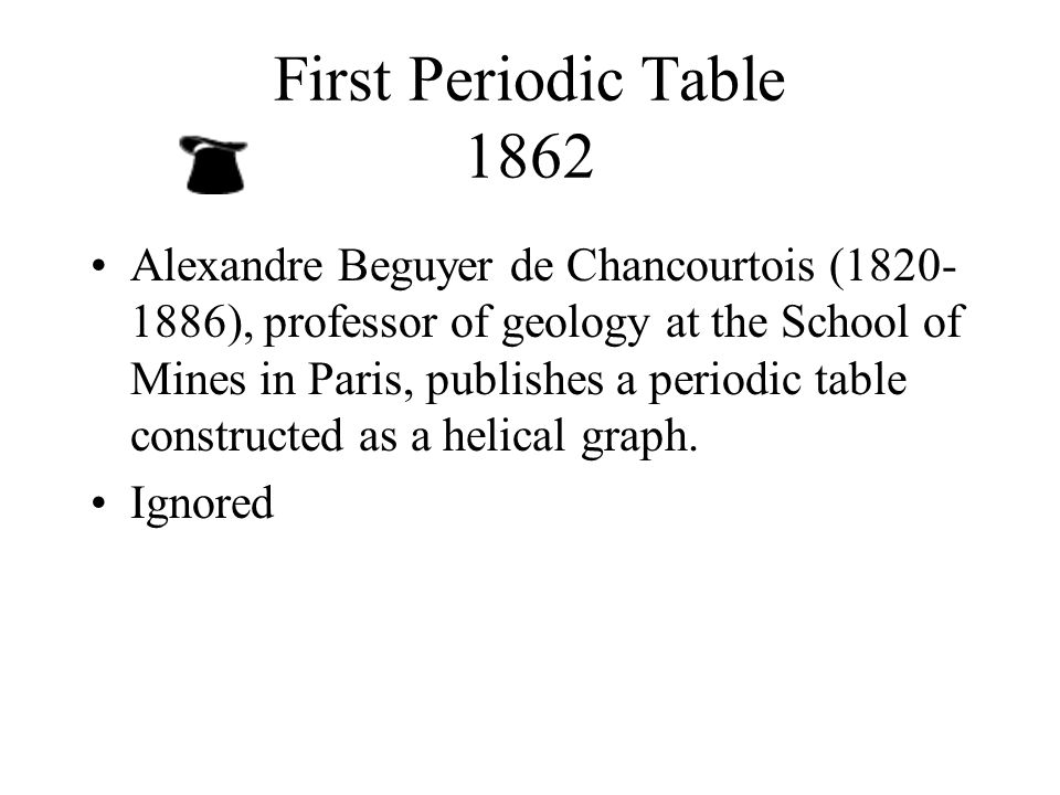 history periodic table alexandre beguyer chancourtois Mendeleev discovered the periodic table (or periodic system, as he called it) while attempting to organise the elements in february of 1869.