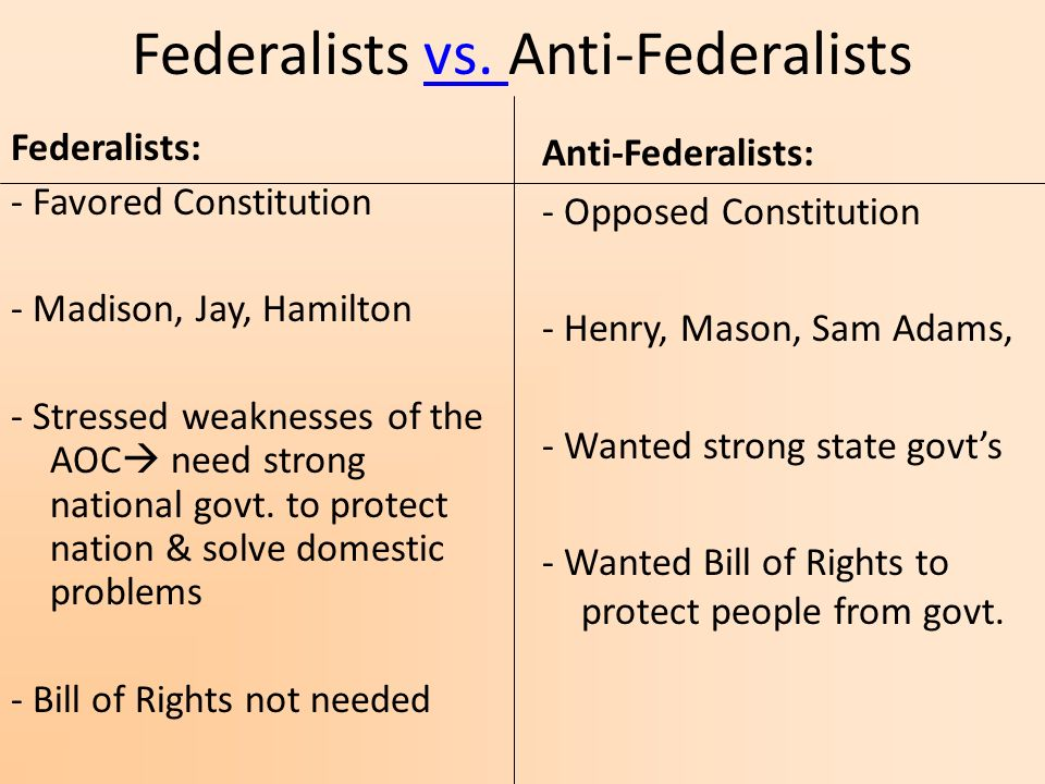 the federalist and anti federalist in the united states and the need to protect the rights of people Nine of the 13 states would have to ratify it before it could go into effect for those   a limited government by the people, many believed a bill of rights was needed   the ninth amendment was added to protect all rights not listed in the bill of  rights  the addition of the bill of rights brought federalists and anti- federalists.