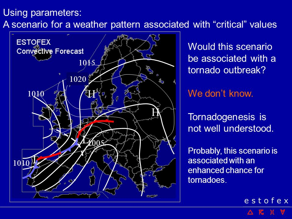 Using parameters: A scenario for a weather pattern associated with critical values. 1020. 1015.