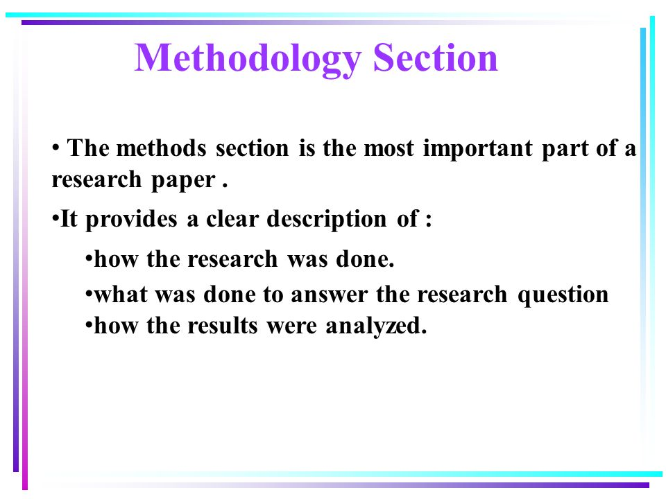sample methodology in research paper How to write the methods section of a research paper  the basic demographic profile of the sample  how to write the methods section of a research paper.