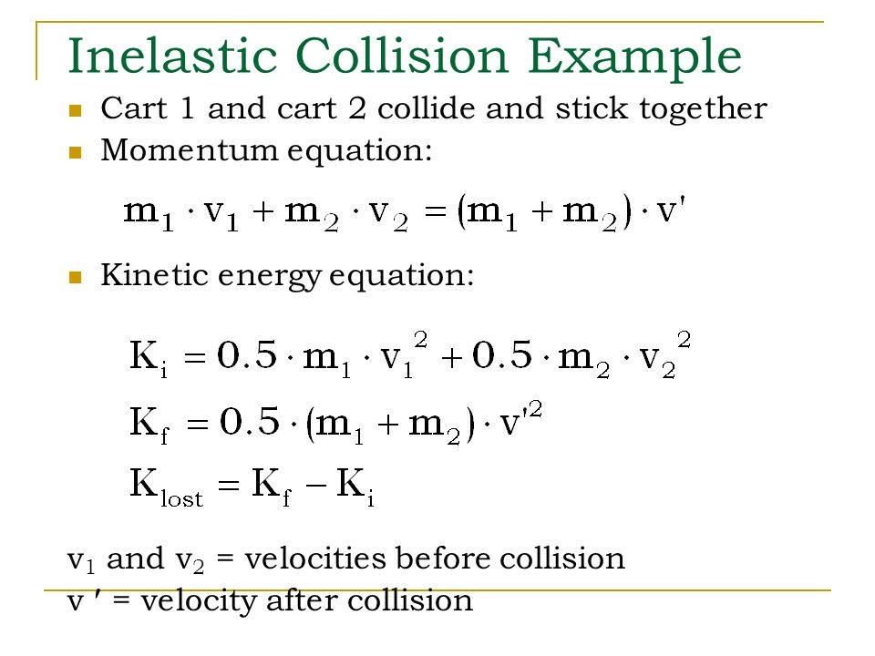 inelastic collision Conclusion in an inelastic collision, the momentum of the system is conserved when the objects in a system collide, any momentum lost by one object would be gained.