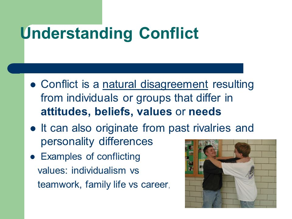 examples of conflict A conflict inside oneself is often referred to as an internal conflict internal conflict arises out of moral and ethical dilemmas associated with right/wrong or yes/no decisions there are three main types of internal conflict: individual internal conflict, conflict when working with others, and internal conflict within groups.