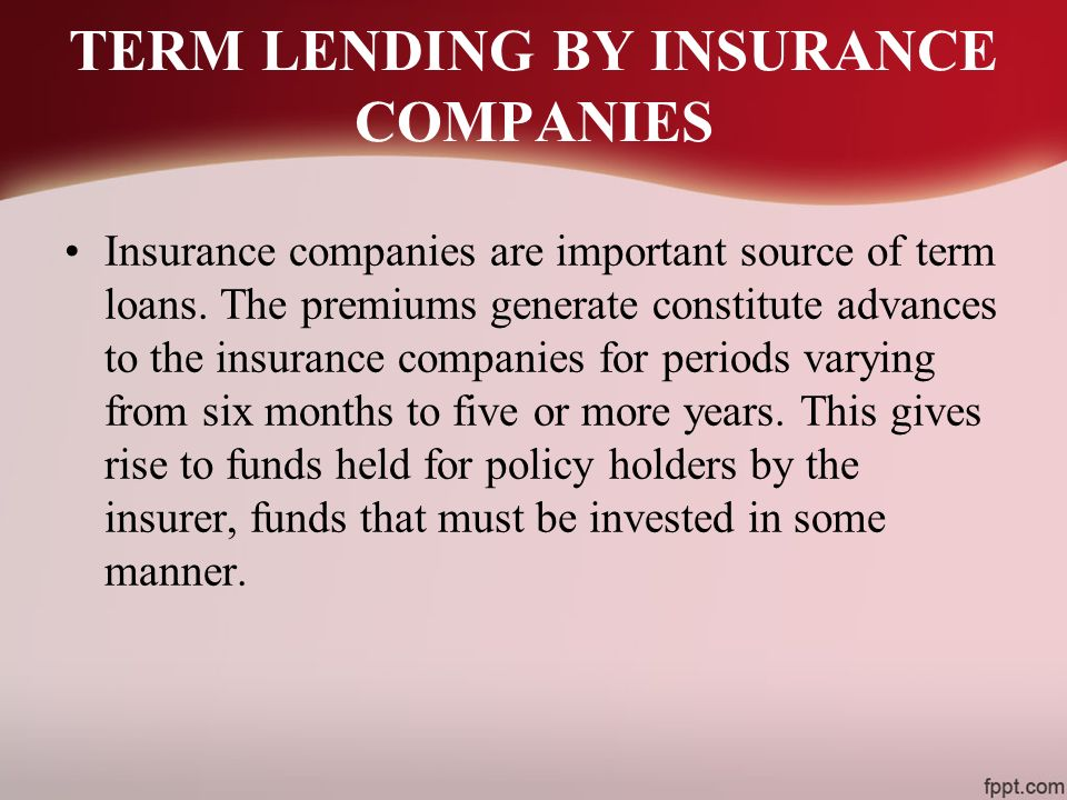 TERM LENDING BY INSURANCE COMPANIES