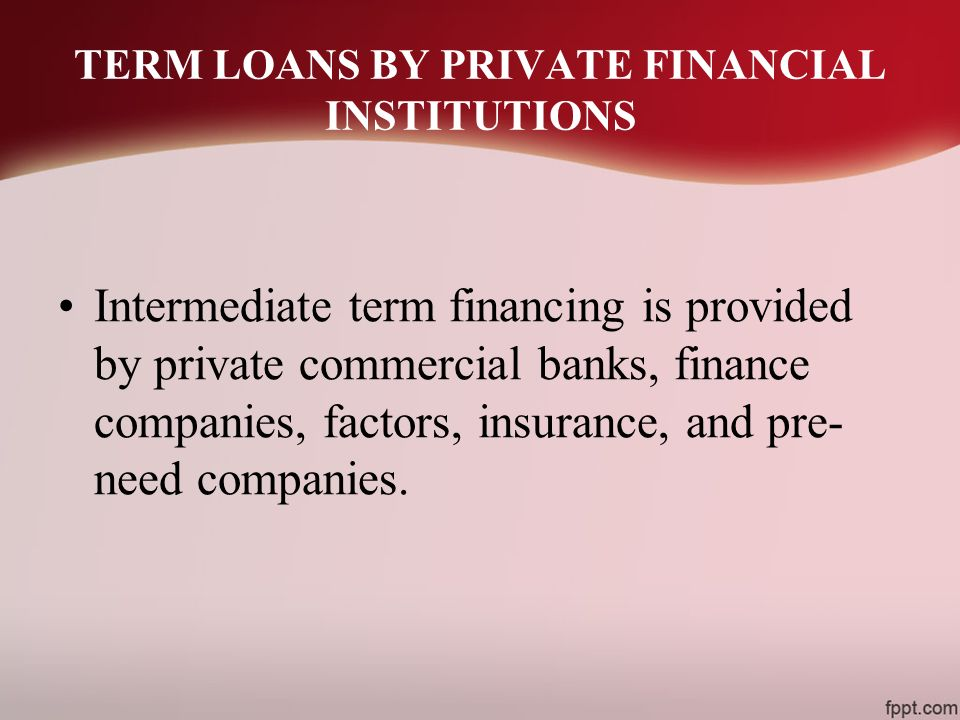 TERM LOANS BY PRIVATE FINANCIAL INSTITUTIONS