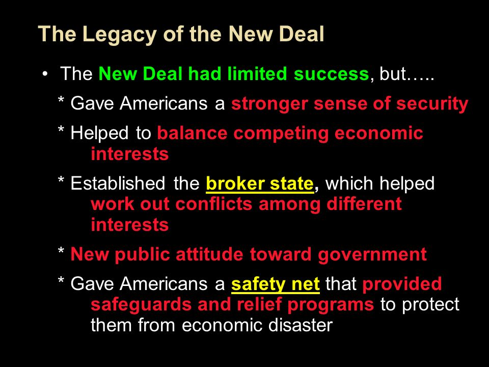 the legacy of the new deal When this lesson on the new deal's legacy ends, take the opportunity to: name some of the new deals programs indicate where the idea for the new deal came from and why it was created.