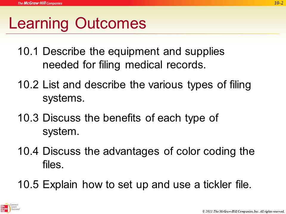 Learning Outcomes 10 1 Describe The Equipment And Supplies Needed For Filing Medical Records