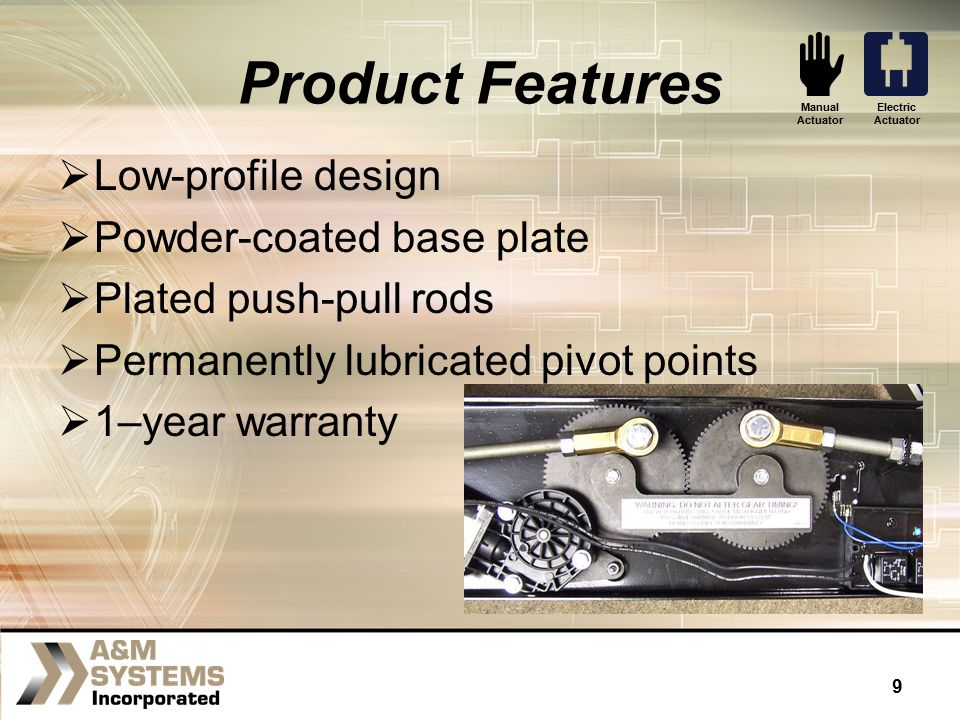 A m systems doors actuators ppt download for Motor base plate design