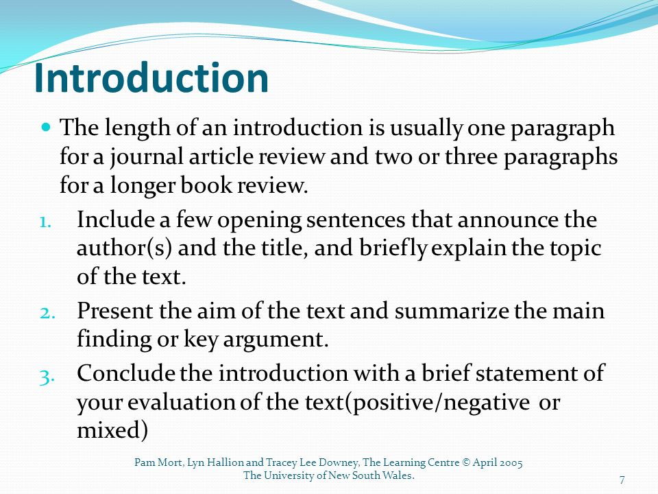 brief article critique Purpose: the purpose is to summarize an article, series of articles, or book(s)  and to offer a critique introduction: the introduction familiarizes the audience  with.
