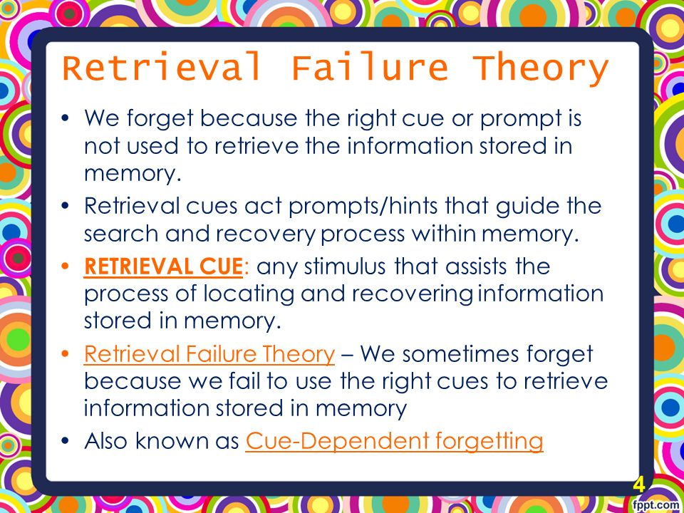 explanations for forgetting There are four major reasons that people forget information: storage failure, interference, retrieval failure and motivated forgetting according to most of these explanations, forgetfulness can result due to the way information is stored in the brain or how different memories affect each other.
