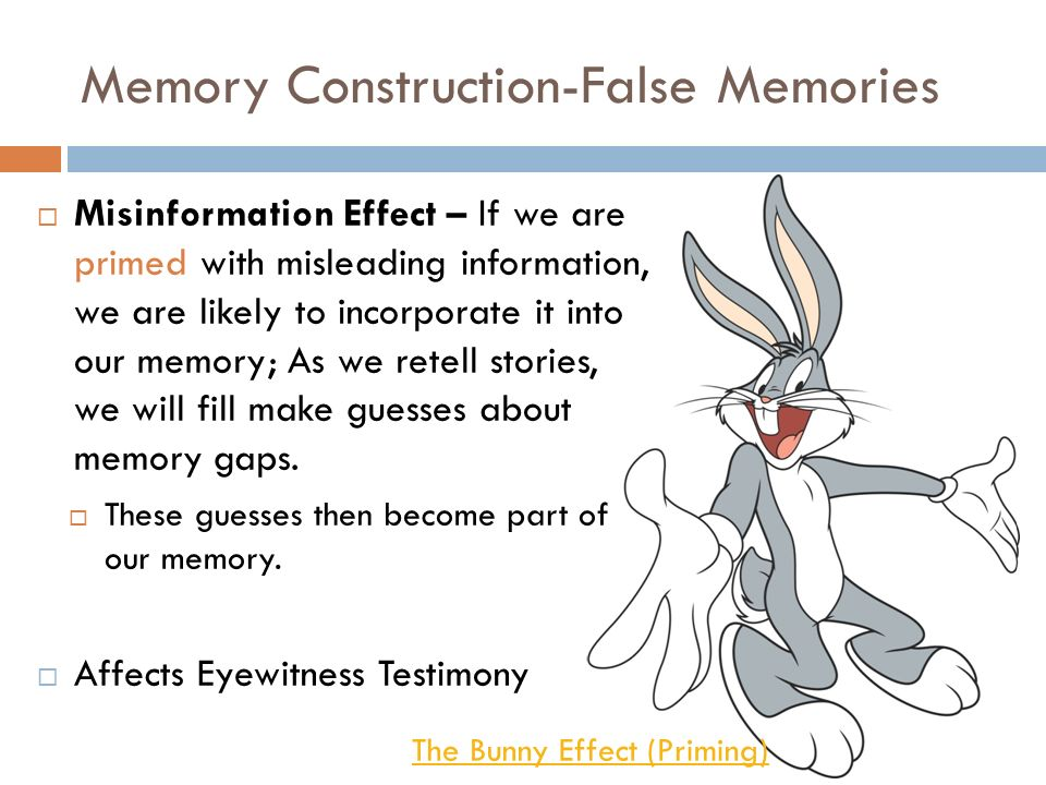 can false memory be a part False memory a false memory is a memory which is a distortion of an actual experience, or a confabulation of an imagined one many false memories involve confusing or mixing fragments of memory events, some of which may have happened at different times but which are remembered as occurring together.