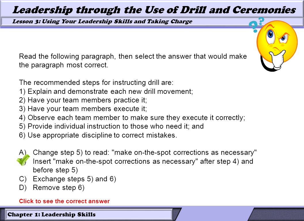 The recommended steps for instructing drill are: