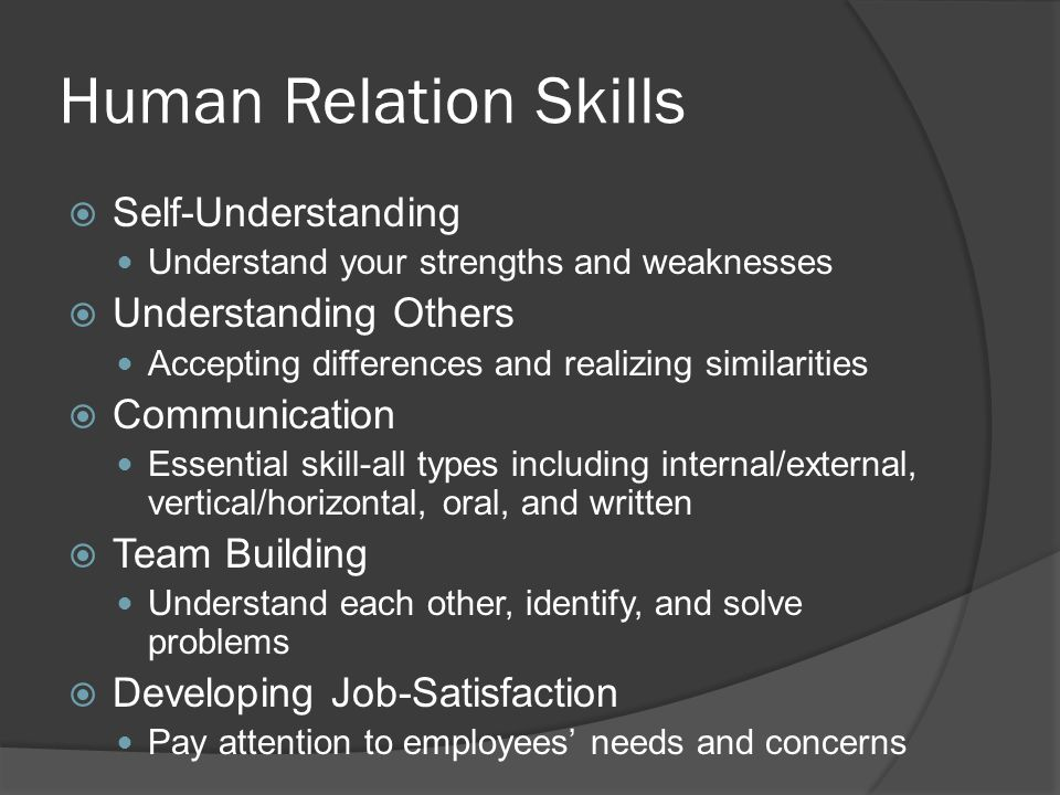 Human Relation Skills Self-Understanding Understanding Others