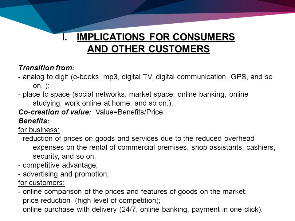 report prepared for individual presentations and reflection by  3 implications for consumers