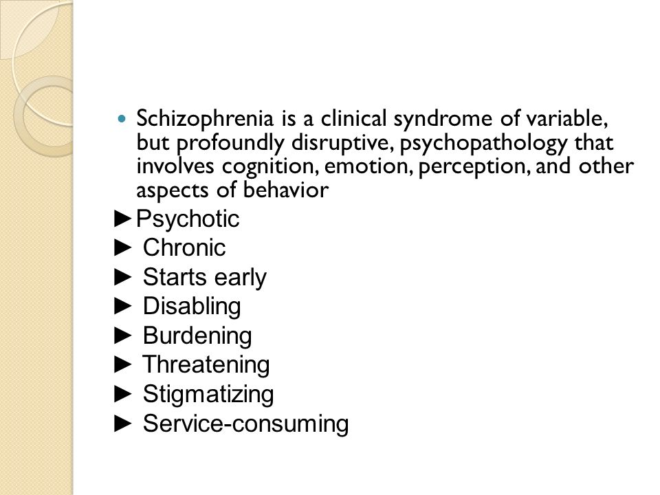 sensation and perception in schizophrenia patients An overview of schizophrenia – information from the national institute of mental health what is it schizophrenia is a chronic, severe, and disabling brain disease.