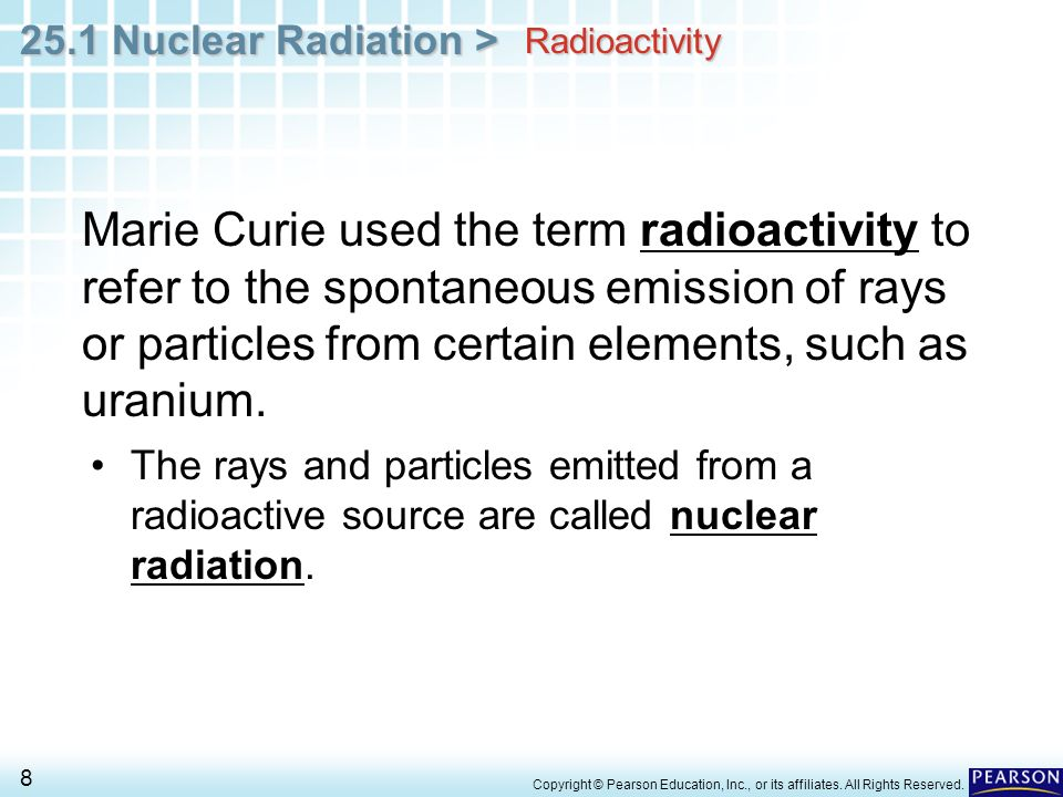 Chapter 25 Nuclear Chemistry 251 Nuclear Radiation ppt download – Nuclear Radiation Worksheet