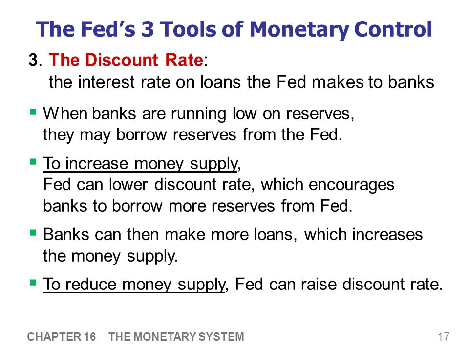 monetary tools to control the market Chapter 16 monetary policy tools then repaying loans to, the central bank, which therefore does not have precise control over mb open market operations.