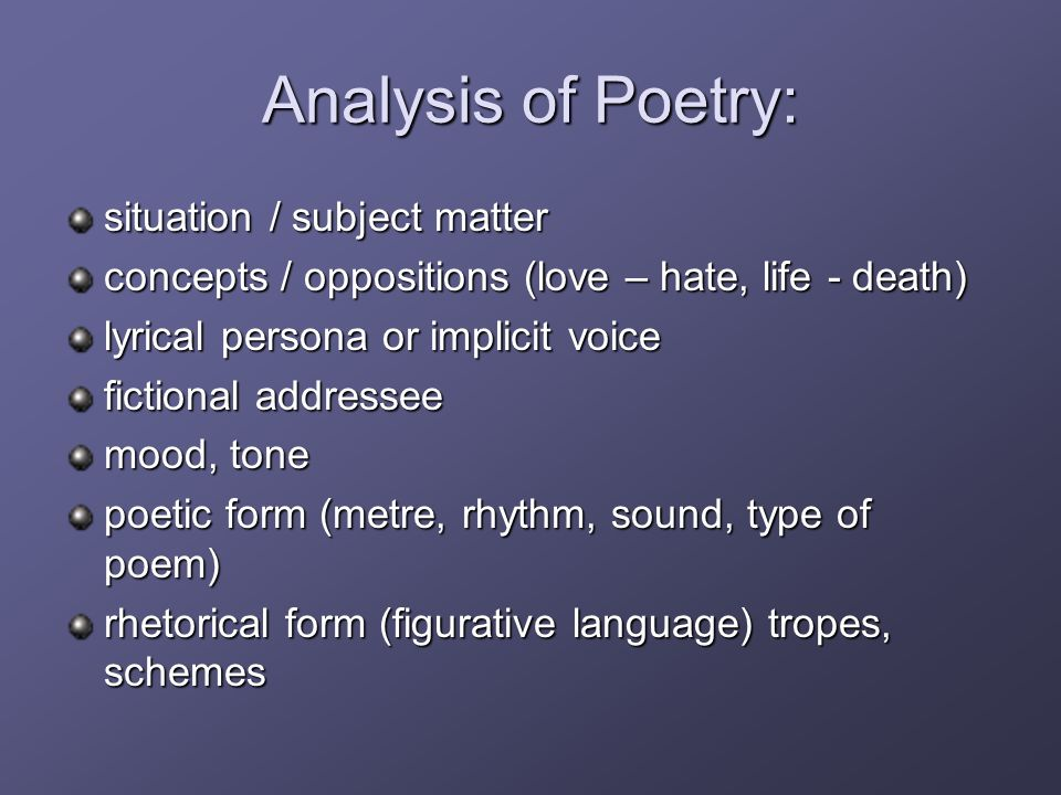 how to find the subject matter of a poem