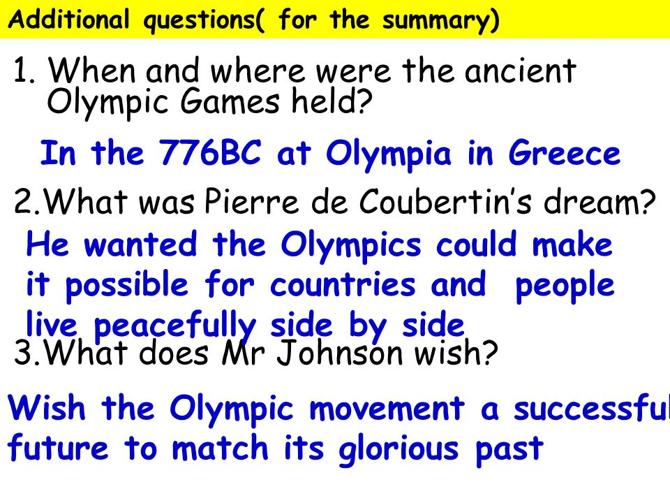 an overview of the ancient olympics The ancient olympics date back to 776 bc while the modern olympics started in 1896 this resource provides an overview of the entire olympic movement.