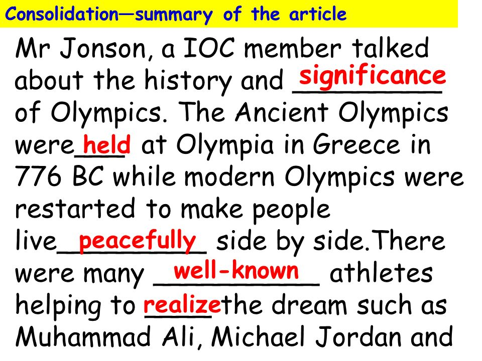 an overview of the ancient olympics The women: were the ancient olympics just for men along with the athletic contests held at ancient olympia, there was a separate festival in honor of hera.