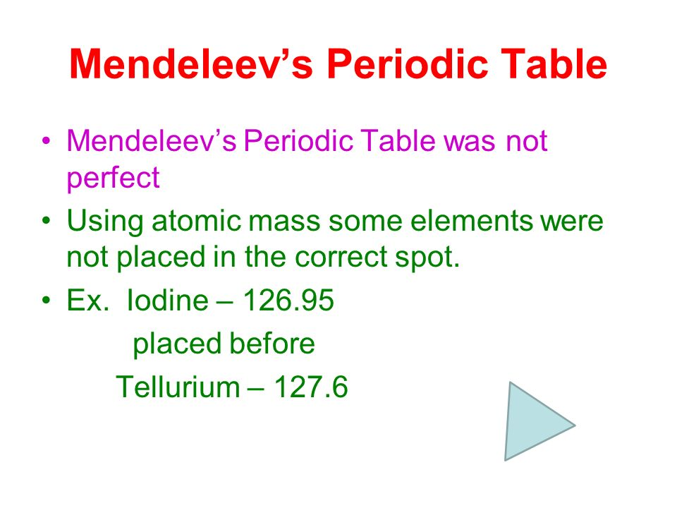 Periodic Table mendeleevs periodic table helped predict properties of : Chapter 5 The Periodic Table. - ppt download