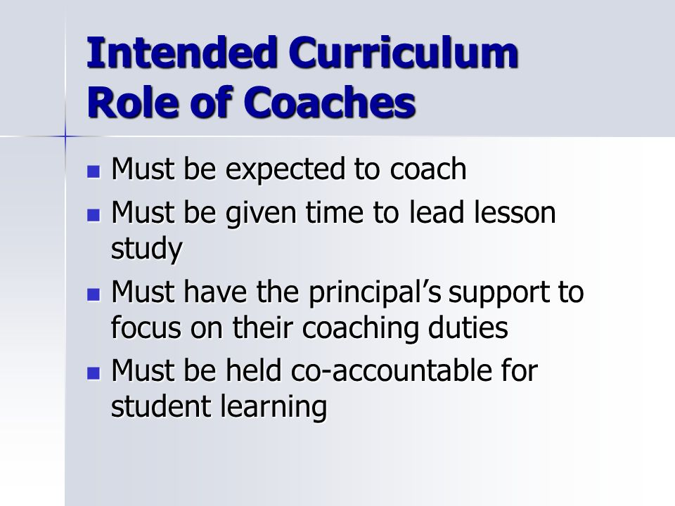 Intended Curriculum Role of Coaches