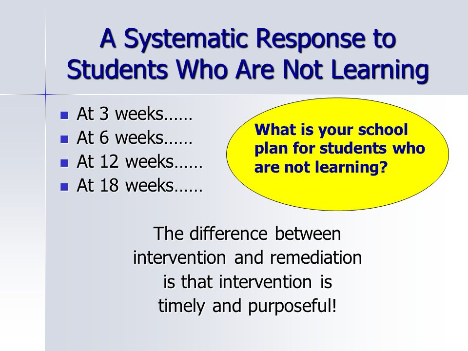 A Systematic Response to Students Who Are Not Learning