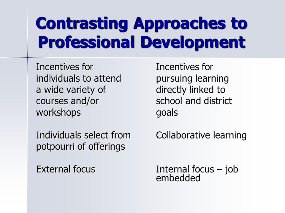 Contrasting Approaches to Professional Development
