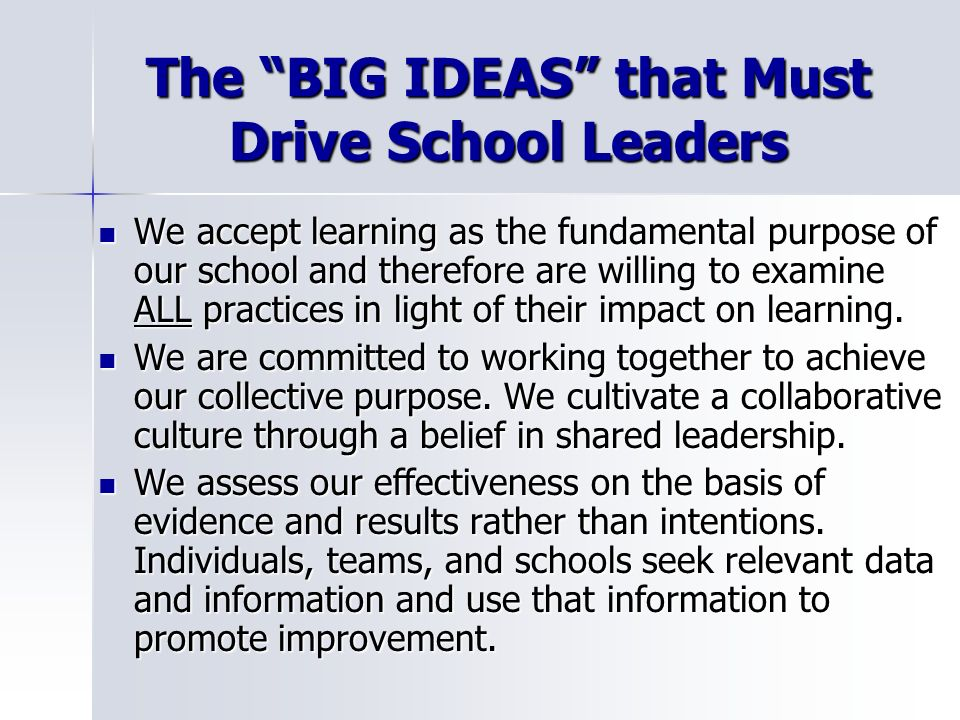 The BIG IDEAS that Must Drive School Leaders