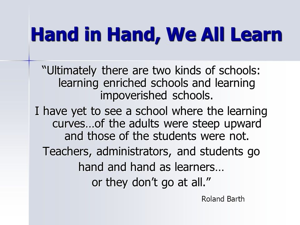 Hand in Hand, We All Learn