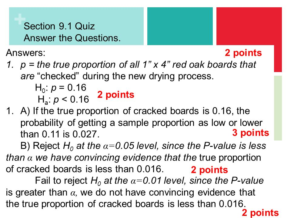 Section 9.1 Quiz Answer the Questions. Use the back of the sheet ...