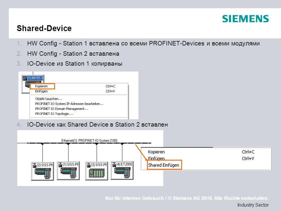 Shared-Device HW Config - Station 1 вставлена со всеми PROFINET-Devices и всеми модулями. HW Config - Station 2 вставлена.