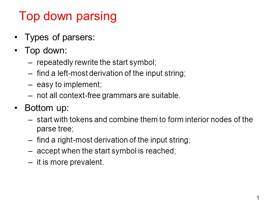 top down parsing types of parsers top down bottom up