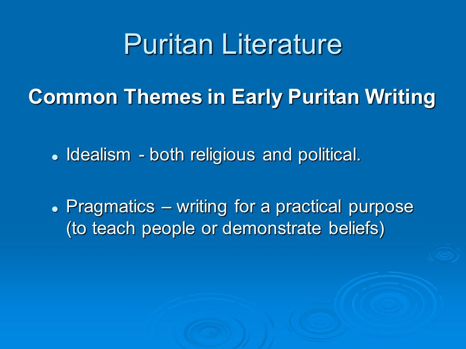 Characteristics of Puritan Writing