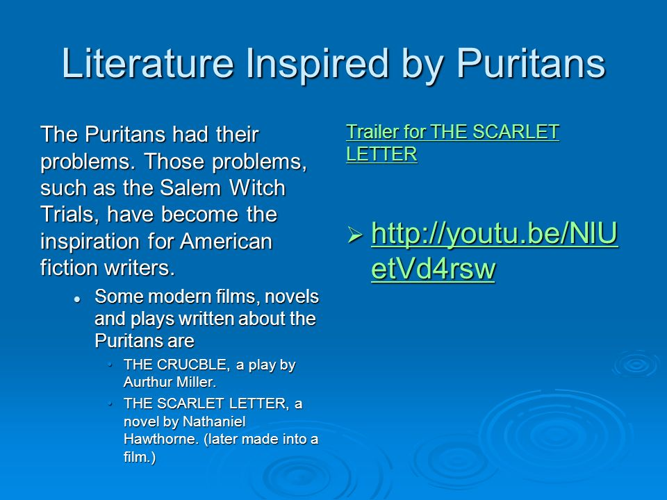 puritans in literature Get information, facts, and pictures about puritans at encyclopediacom make research projects and school reports about puritans easy with credible articles from our free, online encyclopedia and dictionary.