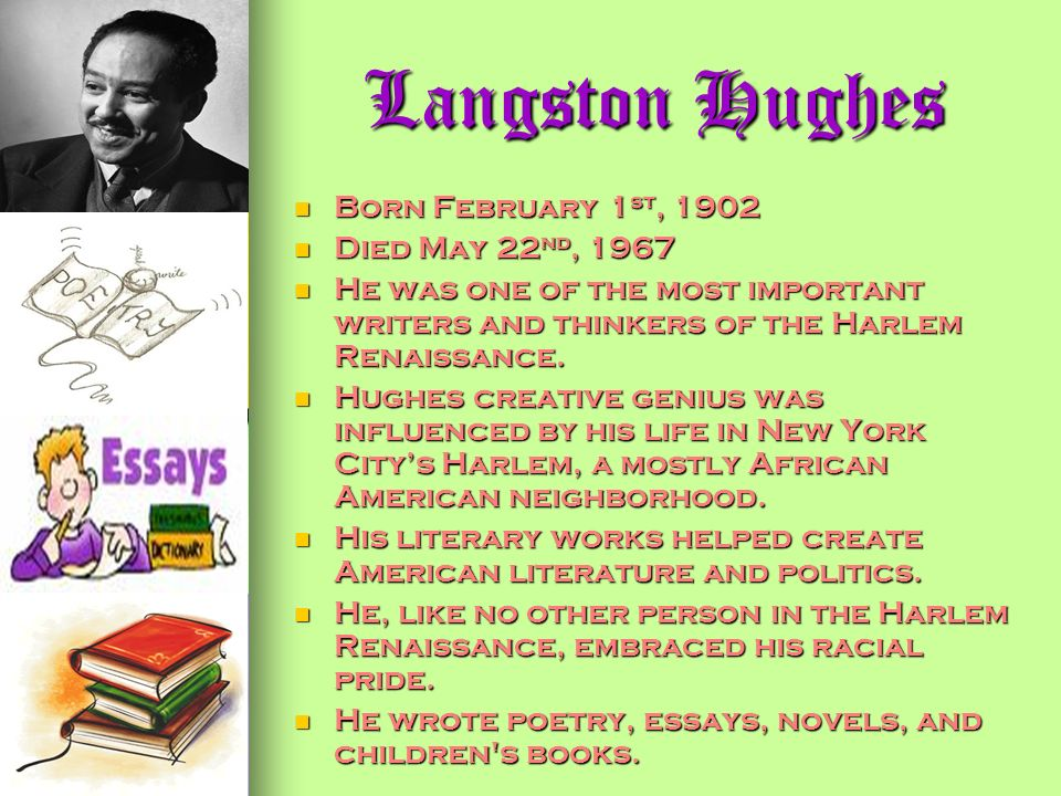 harlem by langston hughes essay The poem harlem by langston hughes reflects the post-world war ii mood of many african essay critical harlem by langston hughes: summary and critical analysis.