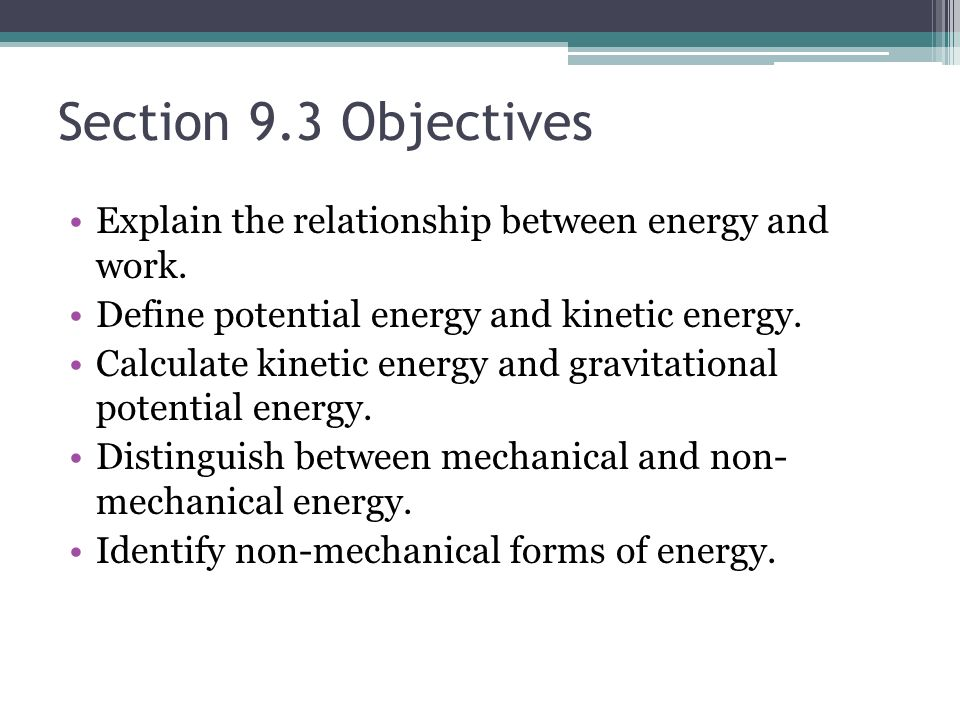 relationship of kinetic energy and potential to work