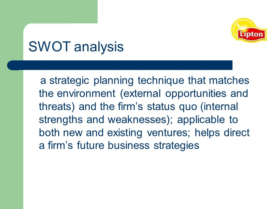 lipton ice tea swot analysis Swot analysis – tetley tea 1 décembre 2014 estellelouis2014 tetley tea positive: negative: internally:  there is a clear difference between the swot summary of kusmi and tetley tea, and that is the volume of the content  this commercial is about the bottled lipton ice tea they have taken a famous actor as their brand ambassador so.