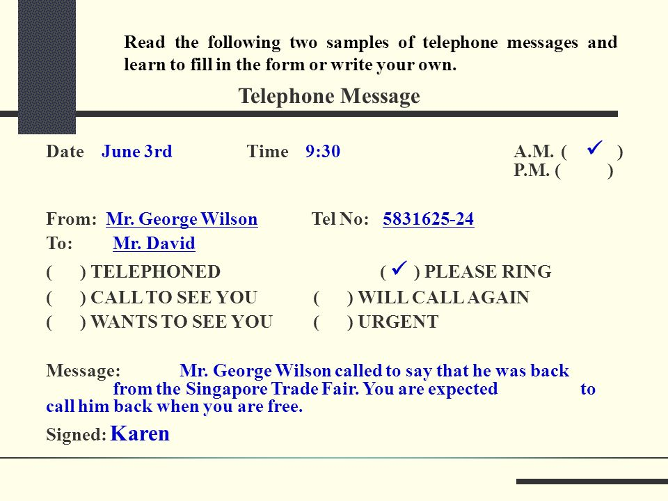 telephone message form
