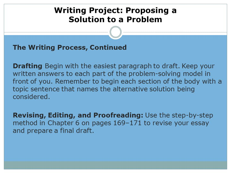 which step is brainstorming in the process of writing a problem-solution essay Name:_____ problem/solution essay date: _____ copyright © 2009 step up 4 learning systems, inc reproduction limited to 6 trait power write™ licensed users.