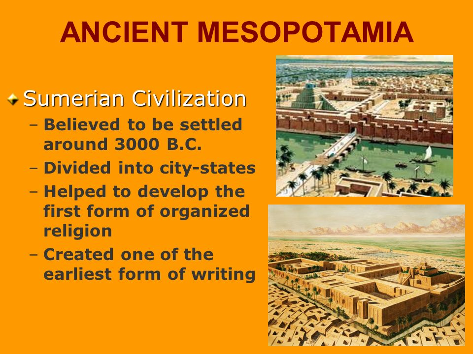 mesopotamia the first civilization essay Mesopotamia is generally credited with being the first place where civilized societies truly began to take shape people around the world had been developing the groundwork for civilization for millennia: agriculture was established around 8000 bc.