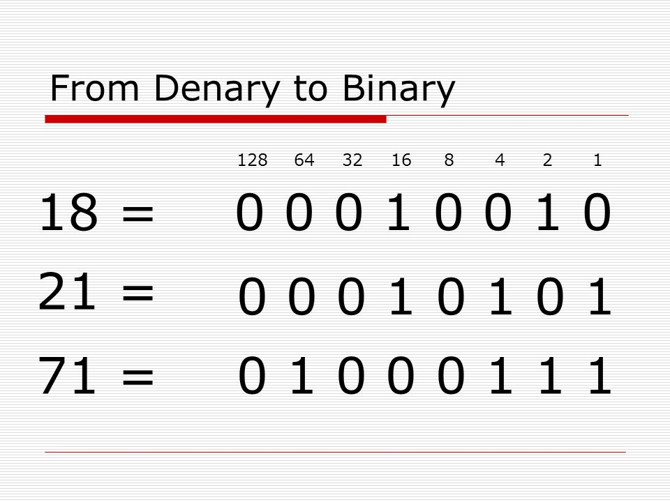 denary numbers into binary options