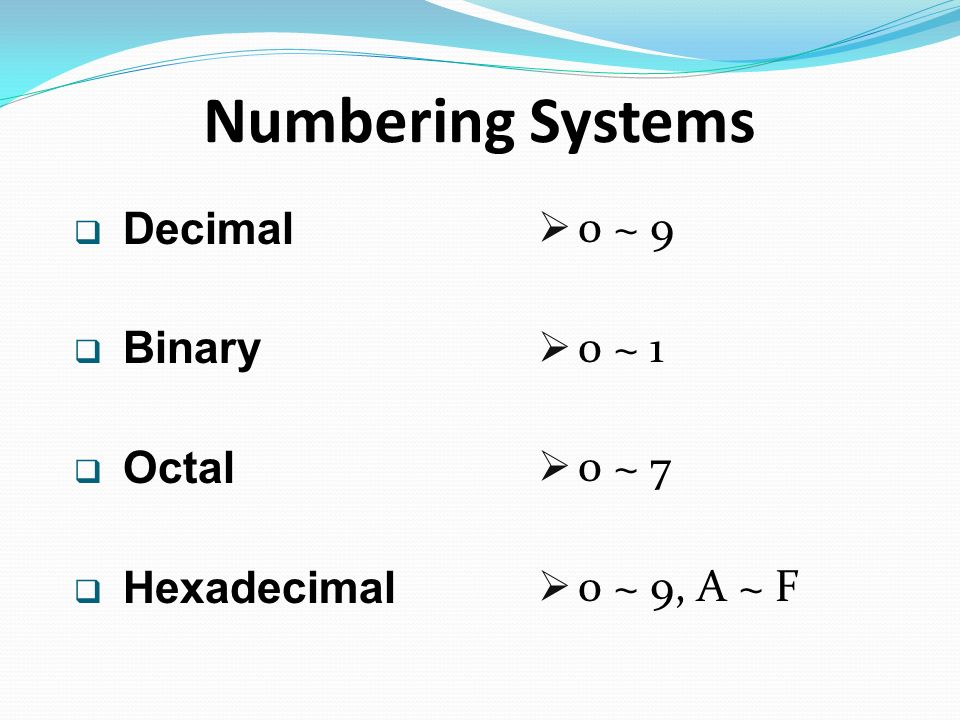 binary and hexidecimal numbering systems Octal (base-8) and hexadecimal (base-16) numbers are a reasonable  compromise between the binary (base-2) system computers use and.
