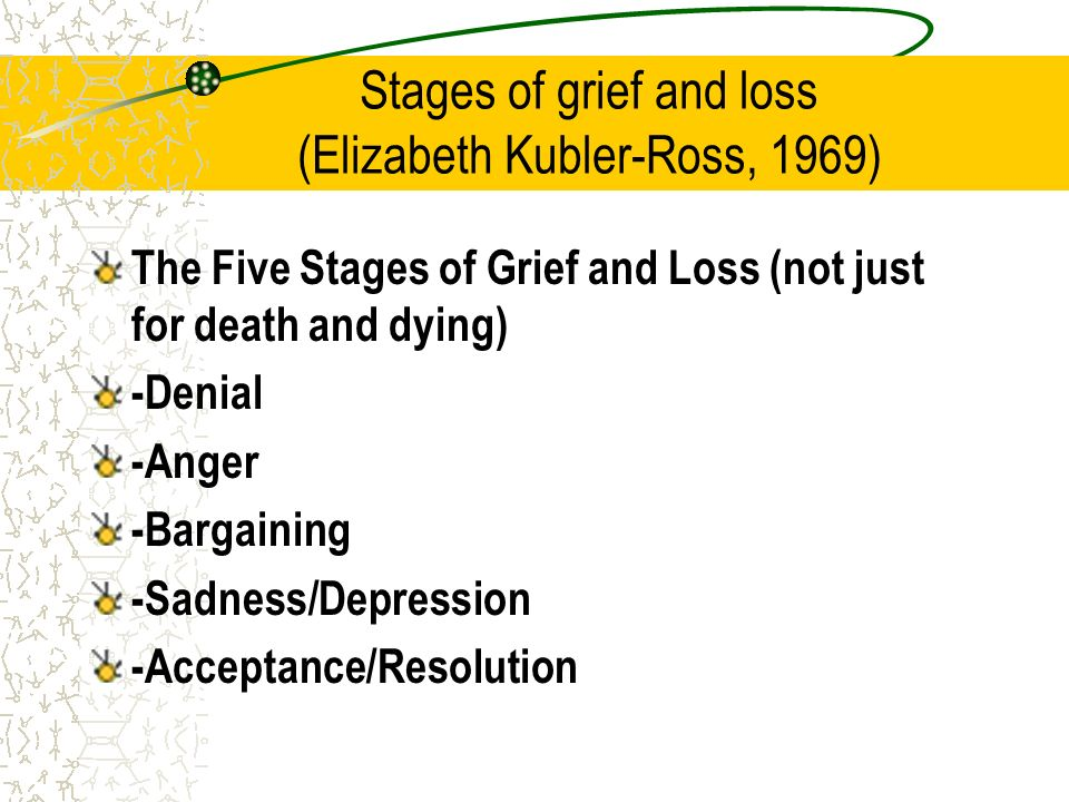 the five stages of accepting death Since the publication of her book on death and dying, the stages of grief, as delineated stages, eventually arriving at acceptance, at which.
