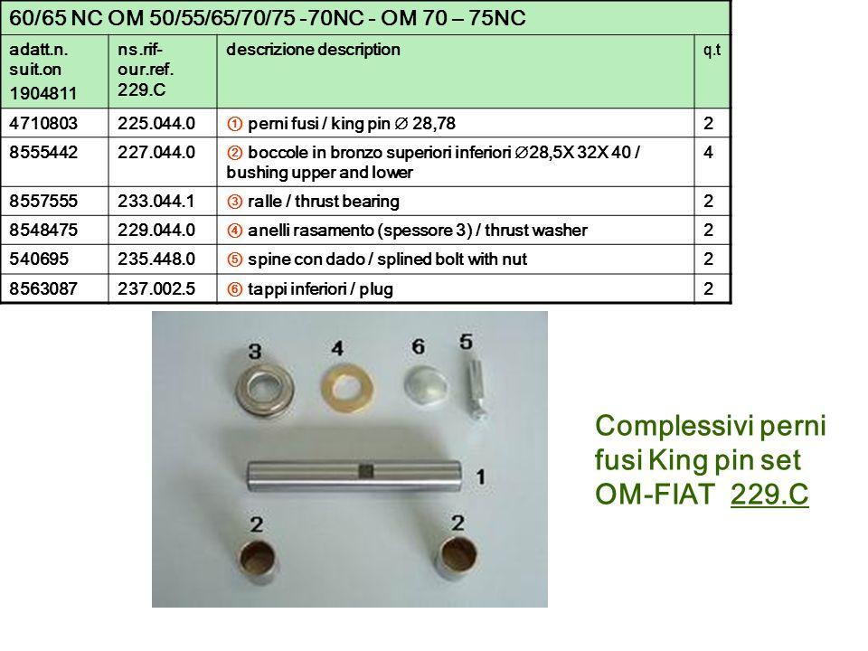 Complessivi perni fusi King pin set OM-FIAT 229.C