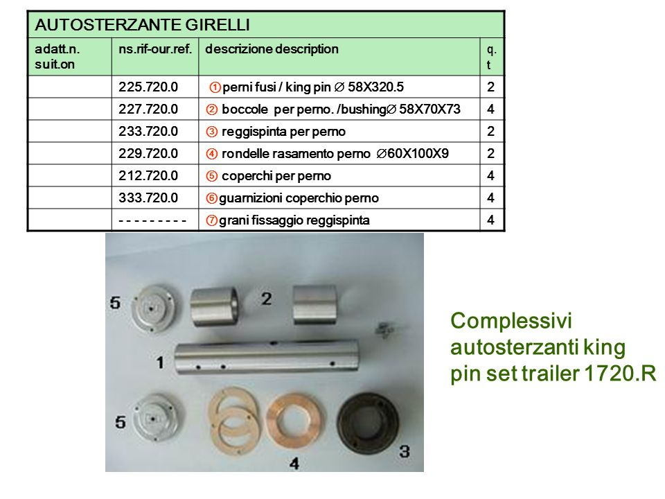 Complessivi autosterzanti king pin set trailer 1720.R