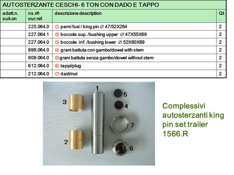 Complessivi autosterzanti king pin set trailer 1566.R