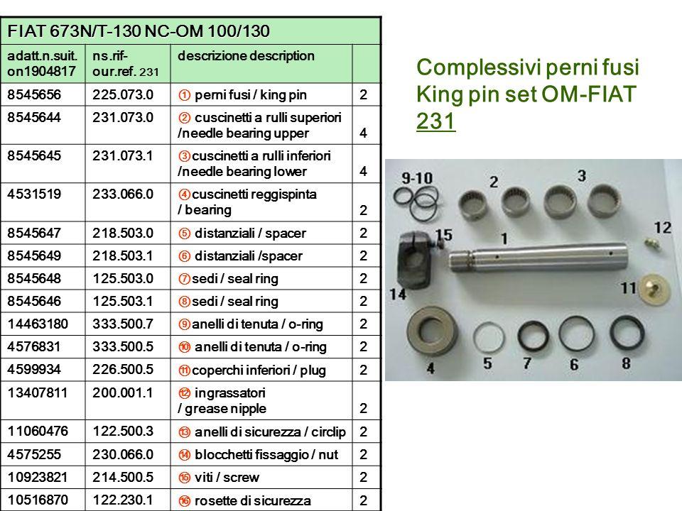 Complessivi perni fusi King pin set OM-FIAT 231