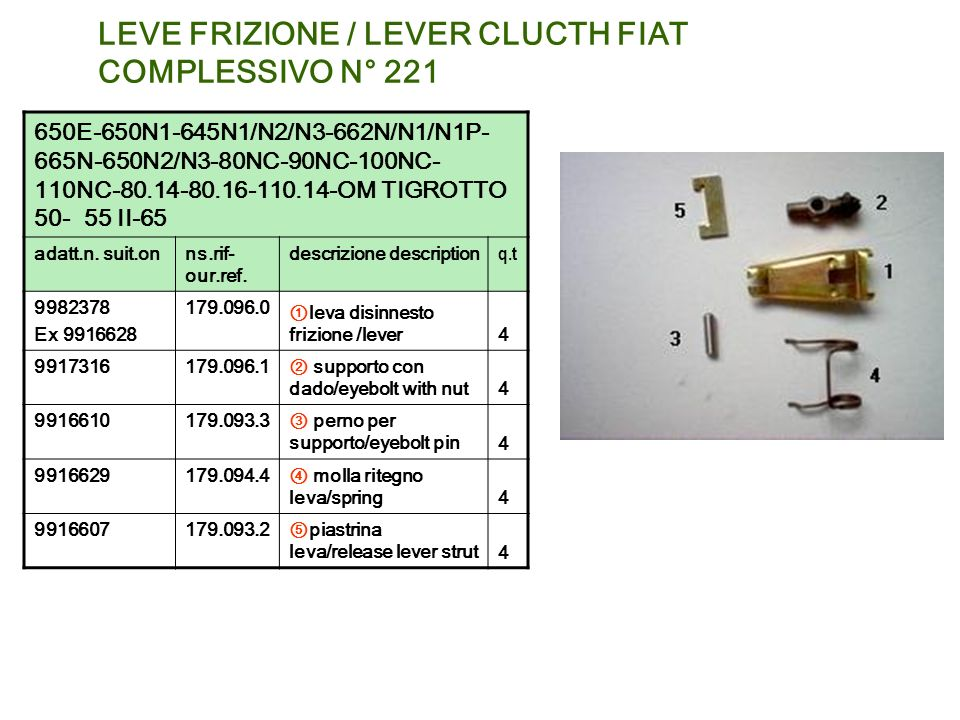 LEVE FRIZIONE / LEVER CLUCTH FIAT COMPLESSIVO N° 221