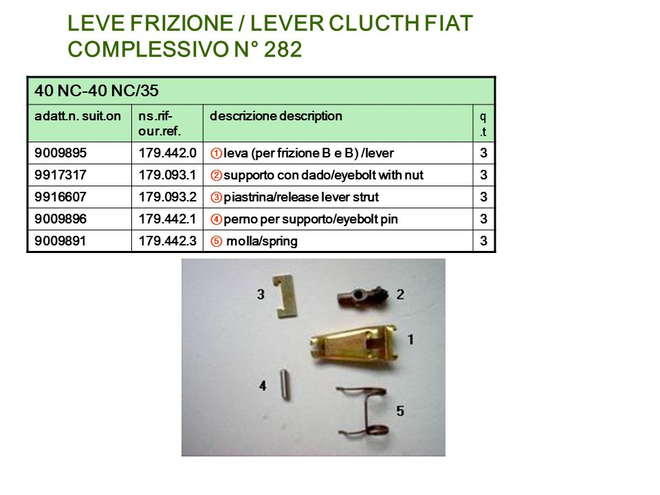 LEVE FRIZIONE / LEVER CLUCTH FIAT COMPLESSIVO N° 282