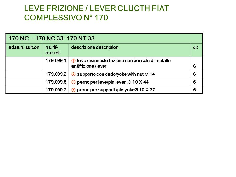 LEVE FRIZIONE / LEVER CLUCTH FIAT COMPLESSIVO N° 170